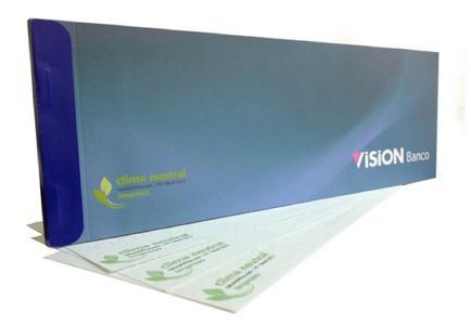 Klimaneutrale Schecks herausgegeben von Visión Banco - eine Bankengruppe mit Visionen
