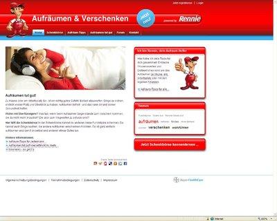 Screenshot: Rennie räumt auf Startseite