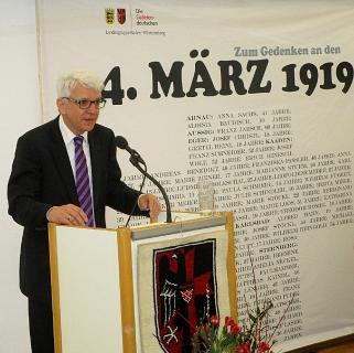 Landesobmann Klaus Hoffmann bei der Gedenkveranstaltung zum 4. März 1919 in Stuttgart 2019