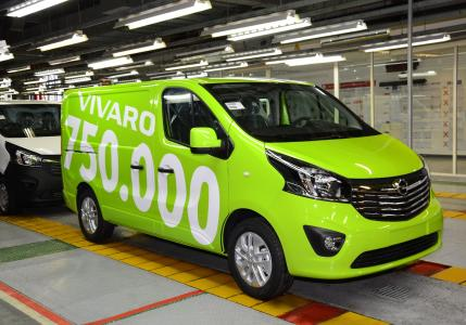 The 750,000th Opel Vivaro drove off the production line in Luton