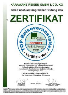 Top-Reiseveranstalter Urkunde