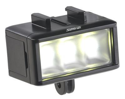 Somikon Unterwasser-LED-Licht für Action-Cams FVL-360.uw, 360 lm, 3 W, 900 mAh-Akku, IPX8