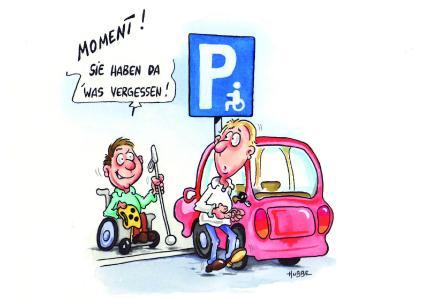 Cover der AMSEL-Hinweiskarte für Falschparker, das Cartoon erstellte der an MS-erkrankte Künstler Phil Hubbe