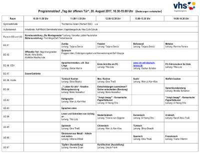 Ablaufplan vhs-Bildungshaus