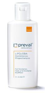 Das Pflegeshampoo preval Lipojoba entfernt bei der Haarwäsche ausschließlich  oberflächliche Verunreinigungen und mikrobiell abgebautes Haarfett (200 Milliliter, 10,50 Euro UVP).