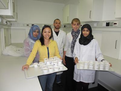 Die Summer Lab-Gruppe um Wai Lam (2.v.l.) hat Kuchen gebacken und für die anderen Teilnehmer in Probierstücke aufgeteilt.