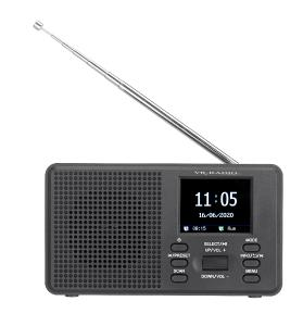 VR-Radio Mobiles Digitalradio DOR-225 mit DAB+ und UKW, LCD-Farbdisplay, Wecker, 8 Watt