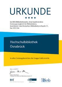 Gold in allen vier Leistungsbereichen: Erneut Topbewertung der Bibliothek der Hochschule Osnabrück