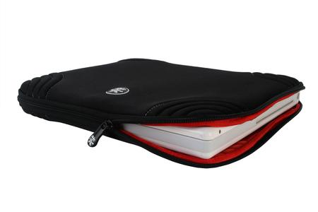Elastic loops for in-pouch working; special zip protection to keep the laptop from scratching