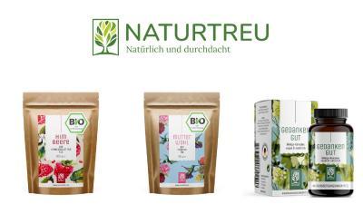 """Naturtreus neue Tees """"Mutterwohl"""", """"Himbeere"""" und das neue Nahrungsergänzungsmittel """"Gedankengut""""."""