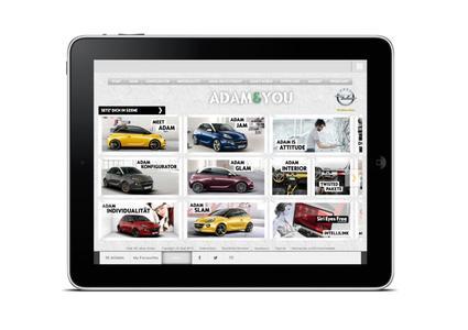 """Die Jury des Red Dot Awards meint: """"Die Opel ADAM-App ist faszinierend, da sie an die Grenzen dessen geht, was ein vergleichender Konfigurator leisten kann.""""  © GM Company"""