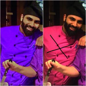 In der Peters SchokoWelt tragen die Mitarbeiter unterschiedlich farbige Jacken zur Unterscheidung. Auszubildende tragen pink und Gesellen tragen lila. Momen ist jetzt Geselle und freut sich die pinke Jacke ablegen zu dürfen.