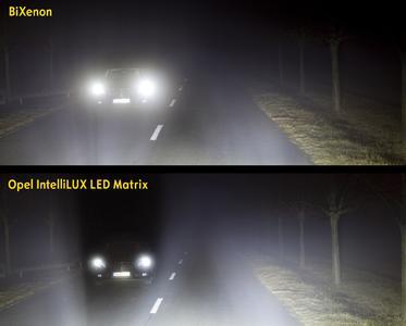 """Blendet nicht: Erkennt Opel IntelliLux entgegenkommende oder vorausfahrende Fahrzeuge, werden einzelne LEDs gezielt deaktiviert und die betroffenen Fahrzeuge einfach """"ausgeschnitten"""". Der Rest der Straße und das weitere Umfeld bleiben dabei stets hell erleuchtet"""