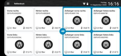App Ansicht Quer + Anzeige Hänger