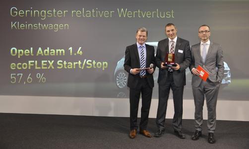 Erster Preis für den ADAM: Tomas Hirschberger, Stellvertretender Chefredakteur von Auto Bild, Andreas Marx, Direktor Marketing Opel Deutschland, Daniel Breves, Geschäftsführer von Schwacke (von links).