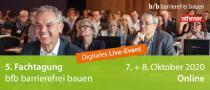Bereits zum fünften Mal findet 2020 die Fachtagung bfb barrierefrei bauen statt – diesmal als zweitägiges, digitales Live-Event mit interaktivem Netzwerk-Charakter.