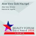 Sieger beim Beauty Award 2020.  1. Platz im Bereich Naturkosmetik für das Produkt Aloe Vera Gold Hautgel