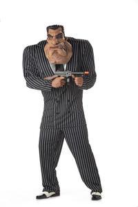 Mafiosi Gangster Mega Kostüm schwarz-weiss
