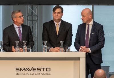 Die Geschäftsführer von Smavesto bei der Vorstellung des neuen Robo-Advisors (v.l.n.r.) Thomas Fürst, Dr. Sascha Otto und Dr. Dirk Rollenhagen (des.), Foto: M. Ihle