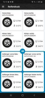 App Ansicht mit 4 Reifen + 4 Reifen vom Hänger