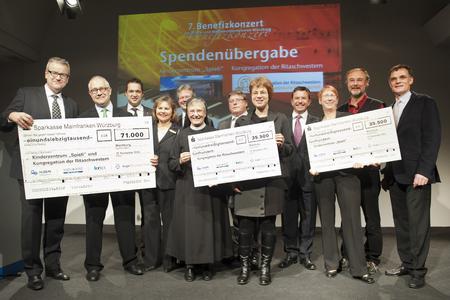Die Vertreter der Förderprojekte und die Veranstalter freuen sich über die Rekordspende des siebten Benefizkonzertes der Druck- und Medienunternehmen Würzburg (Foto: Katrin Heyer)