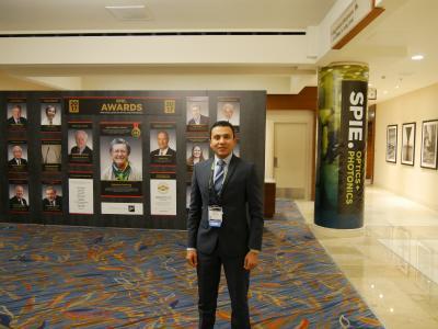 """Präsentierte die Ergebnisse seiner Forschungsarbeiten an der HSB im Rahmen der """"SPIE Optics and Photonics 2017"""" im kalifornischen San Diego: Doktorand Mahmoud Essameldin Mohamed."""