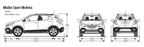 Maße Opel Mokka