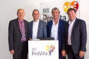 Von links nach rechts: Simon Landmann (Bürgermeister von Bergkirchen), Bernhard Seidenath (MdL), Andreas Schöfbeck (Vorstand BKK ProVita) und Helmut Zech (stellv. Landrat Landkreis Dachau und Bürgermeister von Pfaffenhofen an der Glonn) beim Gesundheitstag der BKK ProVita