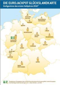 Glückslandkarte Deutschland zur Lotterie Eurojackpot