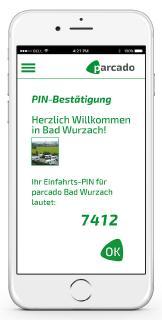 parcado App: Einfahrts-PIN