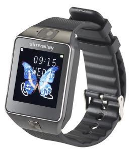 PX 4057 simvalley MOBILE Handy Uhr Smartwatch mit Kamera Bluetooth 4.0 iOS und Android