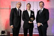 Uwe Abel (Mainzer Volksbank eG), Dr. Ing. Markus Brzeski (A+Composites GmbH), Wirtschaftsminister Dr. Volker Wissing (von links nach rechts), Foto: ISB / Alexander Sell
