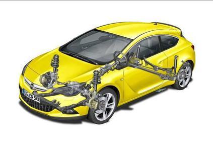 Die Opel-Ingenieure entwickelten mit ihren Kollegen der Schwestermarke Vauxhall im englischen Millbrook eine maßgeschneiderte GTC-Architektur. Wichtige Komponenten des dreitürigen Coupés wie die HiPerStrut- Vorderradaufhängung sind abgeleitet vom 239 kW/325 PS starken Opel Insignia OPC, während die Verbundlenker-Hinterachse mit Wattgestänge des Astra speziell für den GTC weiter entwickelt wurde