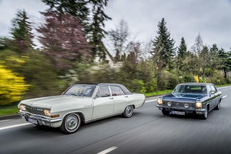 Achtzylinder-Parade: Der Opel Admiral A V8 aus dem Baujahr1966 und der Opel Diplomat B V8 lang von 1976