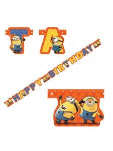 Minions Girlande Happy Birthday Party-Deko bunt 1,8m x 15cm