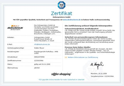 """""""diedruckerei.de"""" als erste Onlinedruckerei mit TÜV Siegel s@fer-shopping ausgezeichnet!"""