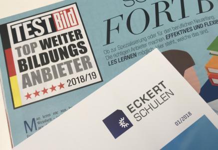 """Die Eckert Schulen gehören zu den zehn besten Anbietern für berufliche Weiterbildung in Deutschland. """"Lerneffekt: Hoch"""", lautet das unabhängige Kundenurteil, veröffentlicht in der aktuellen Ausgabe der TESTBILD / Foto: Eckert Schulen"""