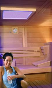 NORDI S-Line, Pfosten-Riegeltechnik mit Bohlen aus kanadischer Tanne ca. 14 mm Deckbreite, ausgestattet mit dem Original BEMBERG FRESH-FEELING als SOFT-FEELING ( Sauna & Softdampf ) mit LED-Farblichtstimulation