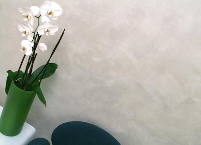 Die Wandoberfläche wurde in edler ArteTwin-Technik beschichtet. Mit silbernem Überzug erhält die Wand einen zusätzlichen Schutz und schimmert elegant. Fotos: Caparol Farben Lacke Bautenschutz/Blitzwerk