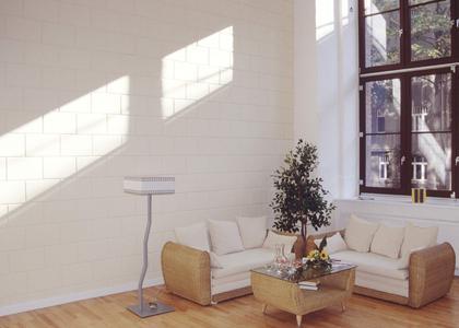 Auf der Wand ergeben sich - hervorgerufen durch die Fasenstruktur - lebendige Licht- und Schattenkompositionen