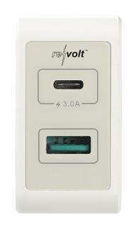 revolt Reise-Mini-USB-C-Netzteil, Quick Charge 3, 2-Pot USB Typ-C & A, 6A/33W