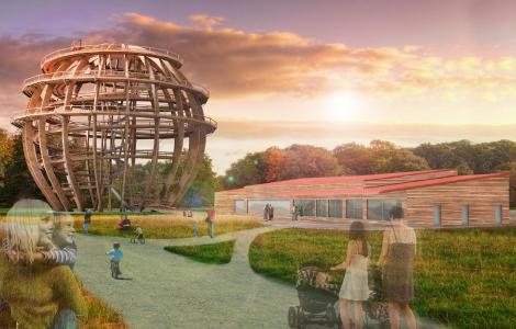 """Der """"kugelrunde Abenteuerspielplatz"""" im Oberpfälzer Seenland soll künftig jährlich rund 150.000 Besucher anlocken. Die Eröffnung ist für Dezember dieses Jahres geplant / Foto: obx-news/inMotion Park"""