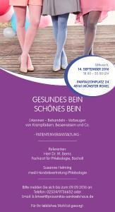 """Informationen zum Thema """"Gesunde, schöne Beine"""" - Patientenvortrag im Sanitätshaus Pro Sanitas"""