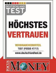 """Das Siegel """"Höchstes Vertrauen"""" zeigt es: Verbraucher vertrauen Massivhausanbieter Heinz von Heiden."""