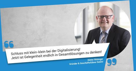 Dieter Rittinger, Geschäftsführer DeGIV; Zitat zum Stand der Digitalisierung und der Erfüllung des Patientendaten Schutzgesetzes und sowie des Online-Zugangsgesetzes