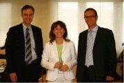 (von links nach rechts): Jan Hatzius, US-Chefvolkswirt Goldman Sachs & Co., Dr. Gertrud Traud, Chefvolkswirtin Hessische Landesbank und Dirk Chlench, Chefvolkswirt Essen Hyp