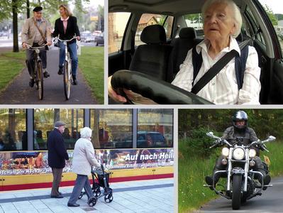 """Die Teilnahme älterer Menschen am Straßenverkehr war Thema der   interdisziplinären europäischen Konferenz """"Ageing and Safe Mobility"""" in der BASt (Bildkollage: Deutscher Verkehrssicherheitsrat e.V. und Bundesanstalt für Straßenwesen)"""