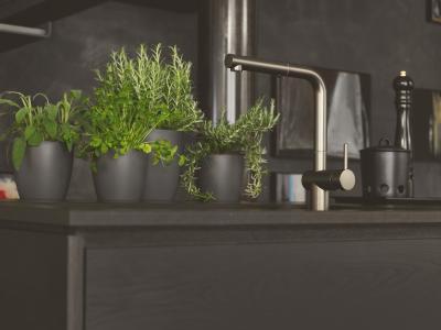 Die Küchenarmatur Active Plus kommt in den angesagten Trendfarben Schwarz matt, Weiß matt, Smoked Shiny, Gun Metal, Polished Nickel und Bronze auf den Markt / Bild: Franke GmbH