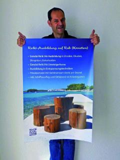 Seminarleiter Oliver Drewes hat aus seinem Lieblingsfoto von Rab ein Werbeplakat gemacht.