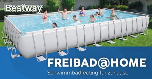Die Maße von 956 x 488 x 132 cm machen den Power Steel™ Framepool von Bestway® zu einem echten Traum für Hobbyschwimmer.